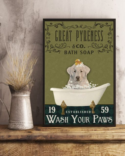 bath soap company great pyreness wash your paws vintage poster 3