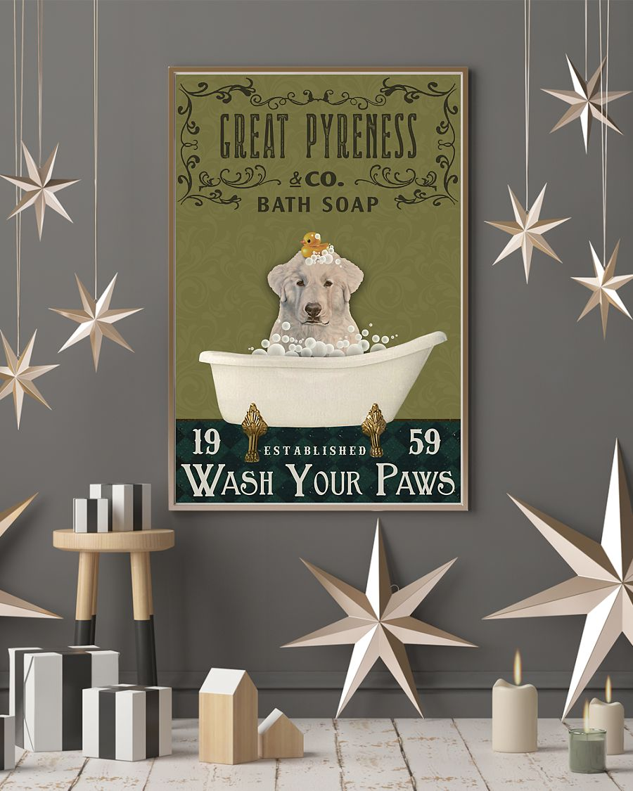 bath soap company great pyreness wash your paws vintage poster 4