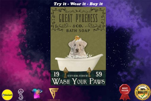 bath soap company great pyreness wash your paws vintage poster