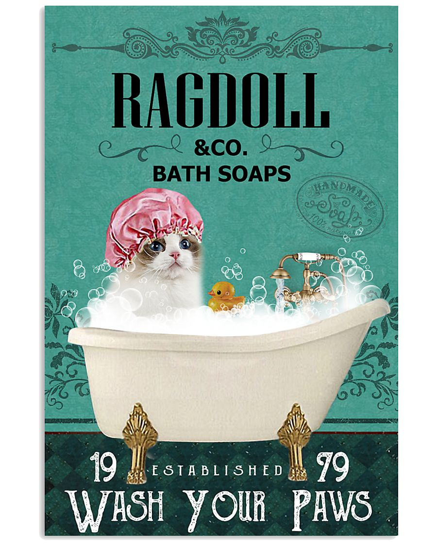 bath soap company ragdoll wash your paws cat vintage poster 1
