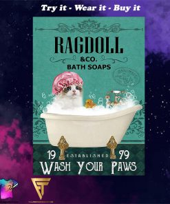 bath soap company ragdoll wash your paws cat vintage poster