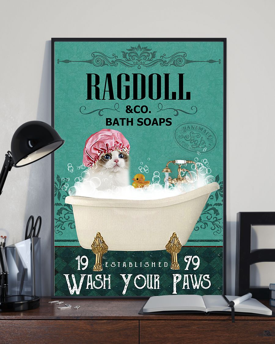 bath soap company ragdoll wash your paws cat vintage poster 3
