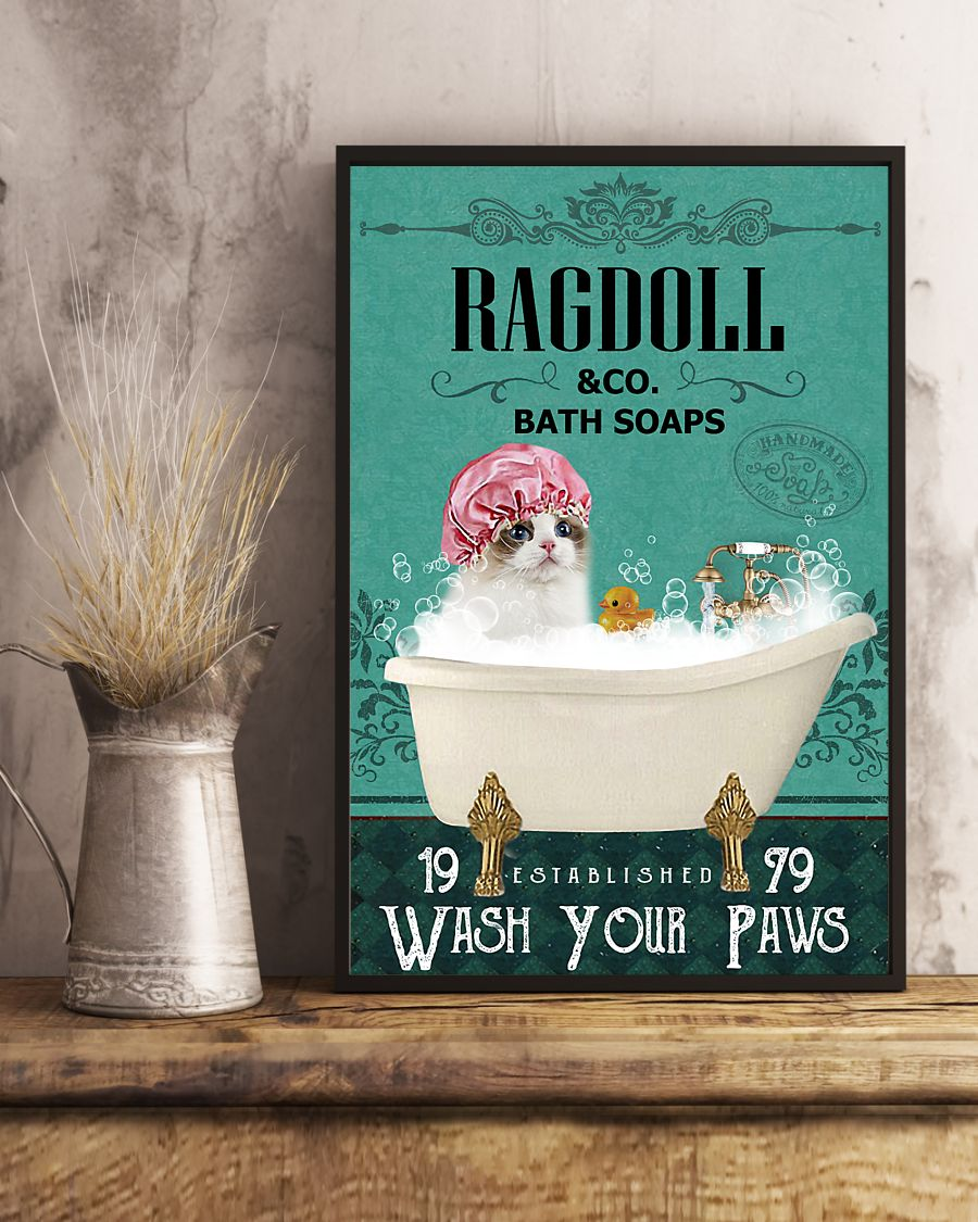 bath soap company ragdoll wash your paws cat vintage poster 4