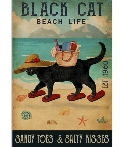 beach life black cat sandy toes and salty kisses vintage poster 1