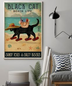 beach life black cat sandy toes and salty kisses vintage poster 2