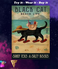 beach life black cat sandy toes and salty kisses vintage poster