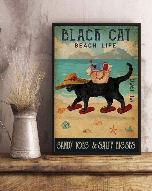 beach life black cat sandy toes and salty kisses vintage poster 4
