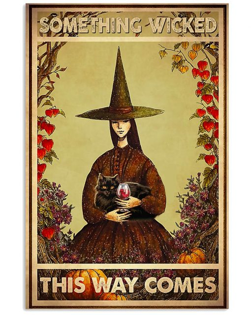 black cat and witch something wicked this way comes vintage poster 1