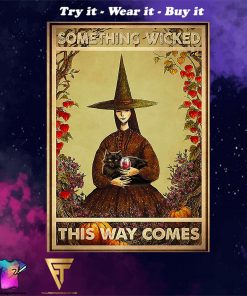 black cat and witch something wicked this way comes vintage poster