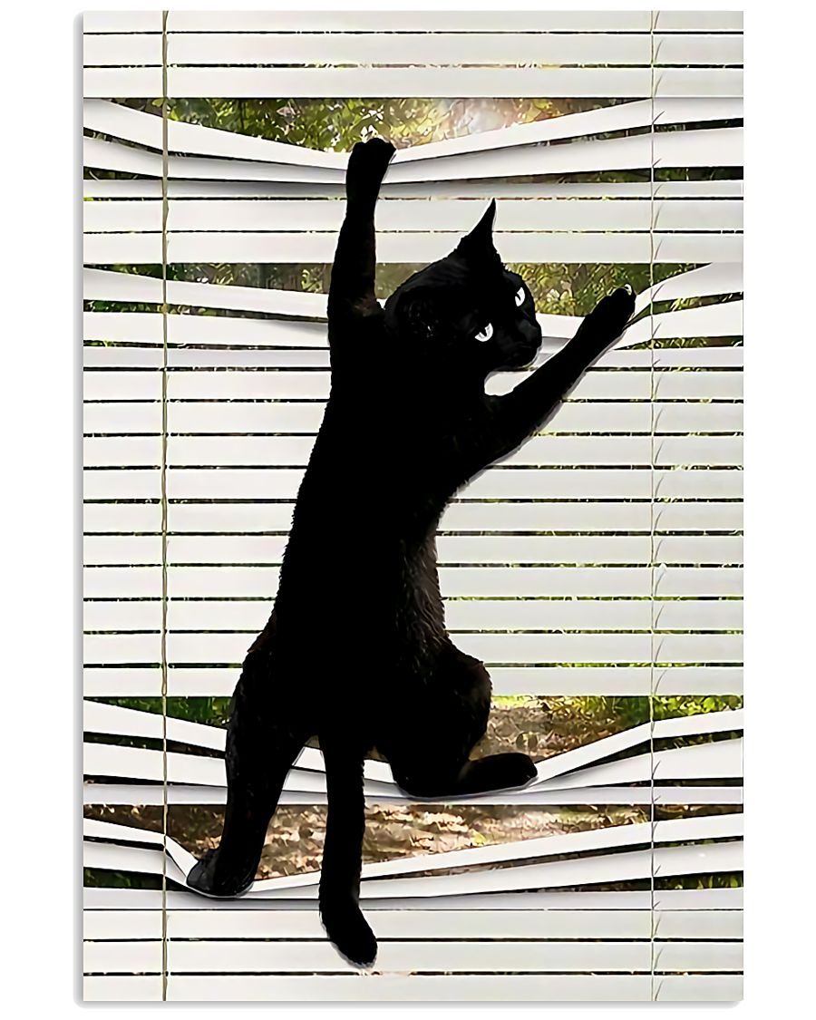 black cat on window poster 2