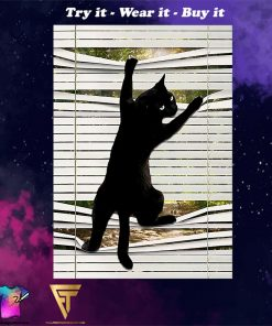 black cat on window poster