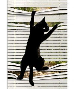 black cat on window poster 3