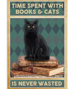 black cat time spent with books and cats is never wasted vintage poster 1
