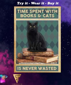 black cat time spent with books and cats is never wasted vintage poster