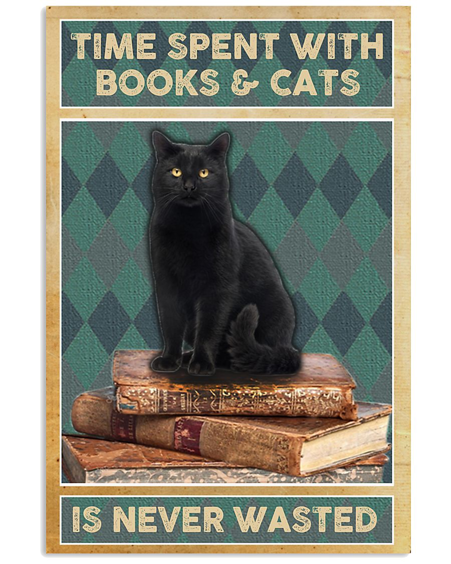 black cat time spent with books and cats is never wasted vintage poster 3