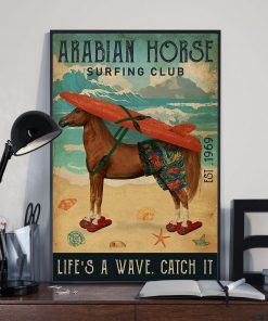 diving club arabian horse lifes a wave catch it vintage poster 4