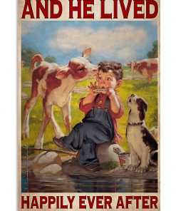 farmer cow and he lived happily ever after vintage poster 2