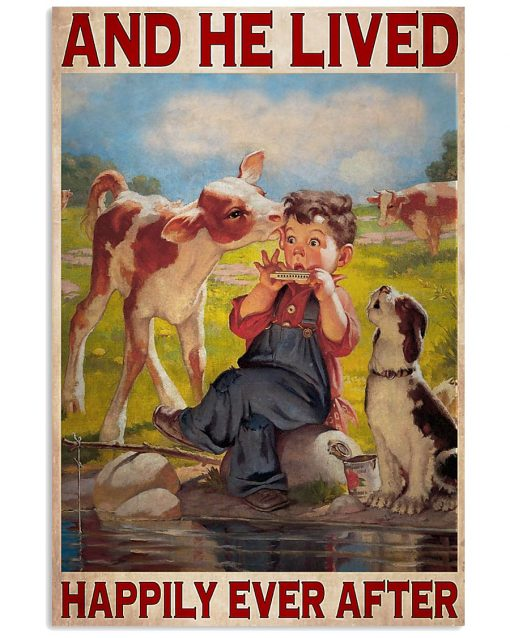 farmer cow and he lived happily ever after vintage poster 3