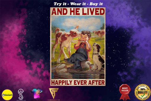 farmer cow and he lived happily ever after vintage poster