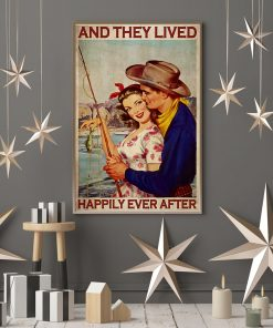 fishing couple and they lived happily ever after vintage poster 2