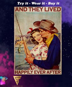 fishing couple and they lived happily ever after vintage poster
