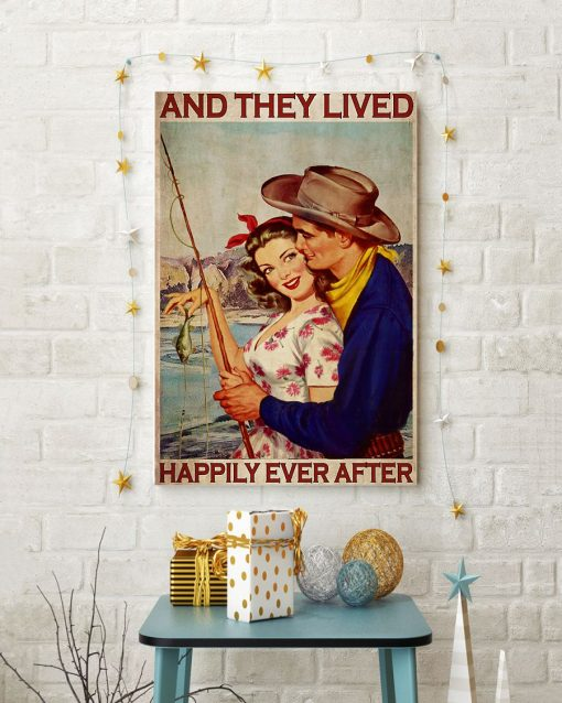 fishing couple and they lived happily ever after vintage poster 4