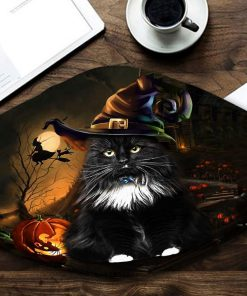 halloween black cat with witch hat all over printed face mask 1