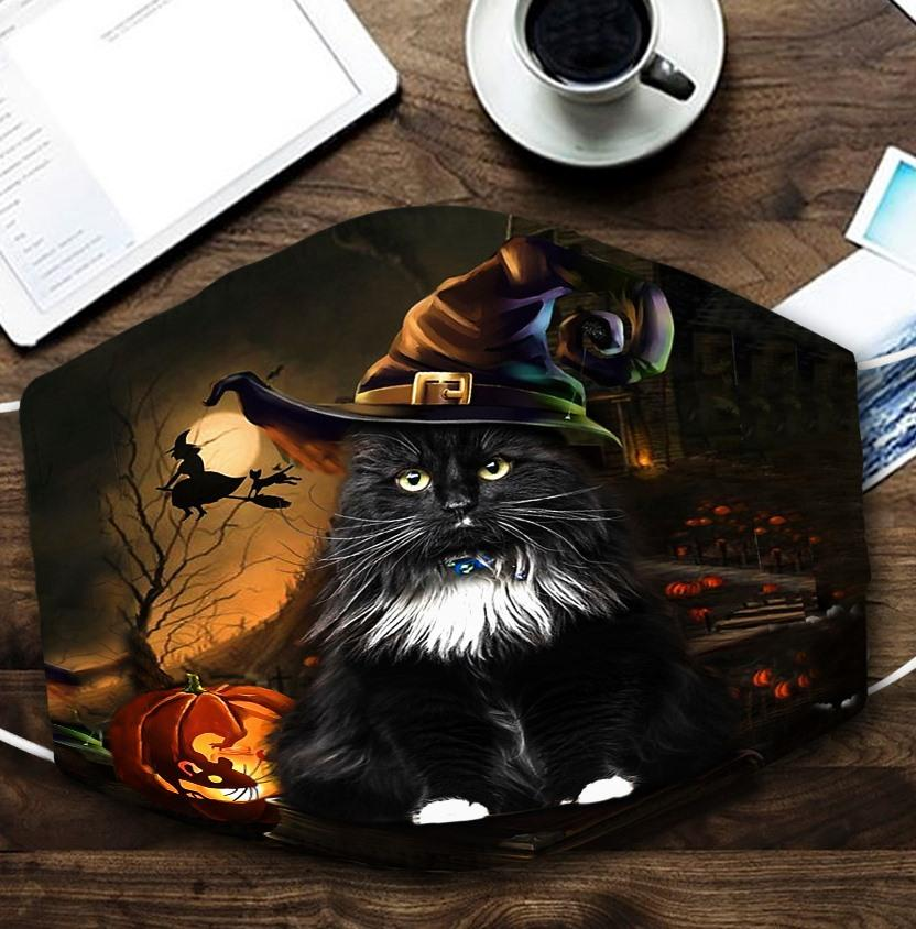 halloween black cat with witch hat all over printed face mask 2