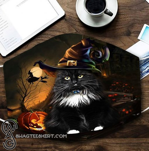 halloween black cat with witch hat all over printed face mask