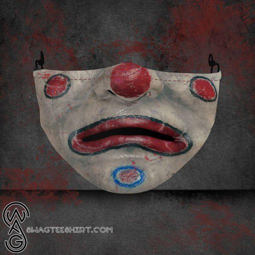 halloween clown face all over printed face mask