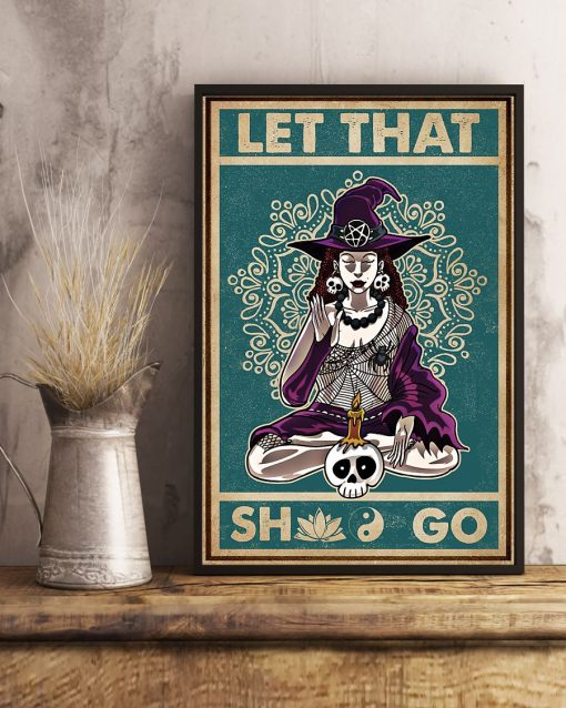 halloween let that shit go witch yoga vintage poster 2