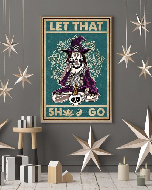 halloween let that shit go witch yoga vintage poster 4