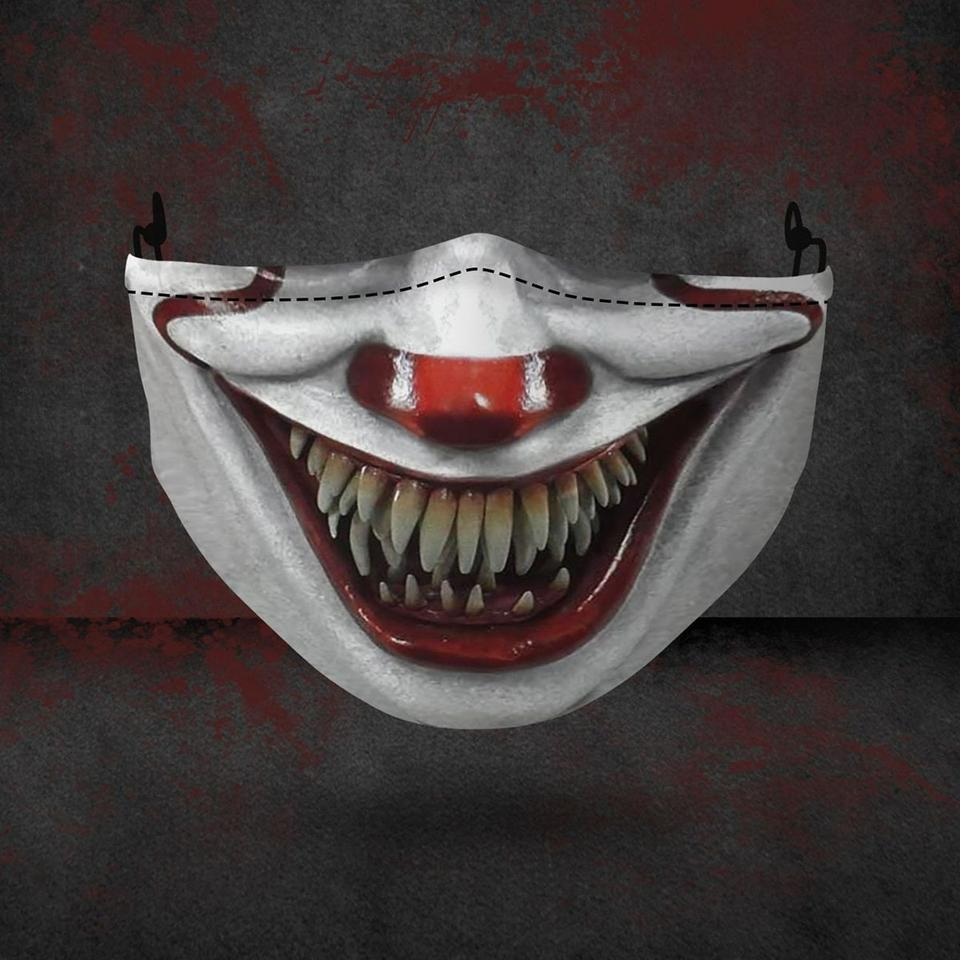 halloween pennywise face all over printed face mask 1