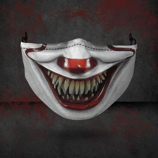 halloween pennywise face all over printed face mask 4