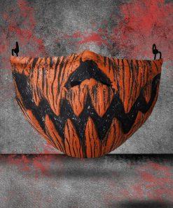 halloween pumpkin face all over printed face mask 1