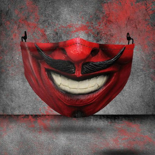 halloween red devil all over printed face mask 2
