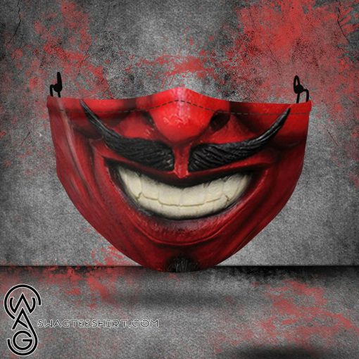 halloween red devil all over printed face mask