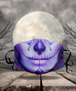 halloween sugar skull lady all over printed face mask 2