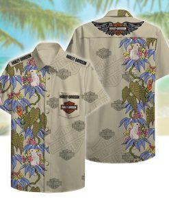 harley-davidson motorcycles beach pattern hawaiian shirt 2