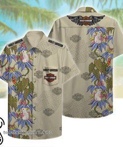 harley-davidson motorcycles beach pattern hawaiian shirt