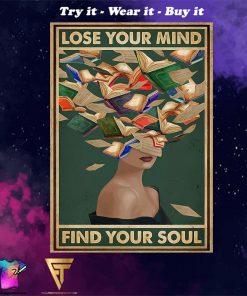 lose your mind find your soul reading book vintage poster