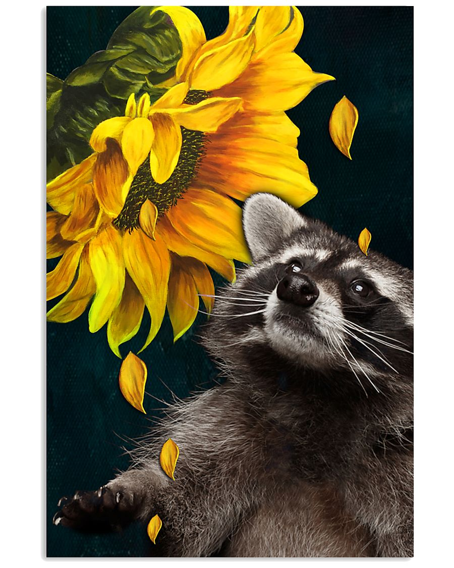 raccoon and sunflower poster 3