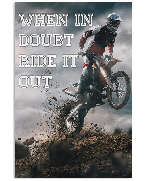 retro motorcycle when in doubt ride it out poster 1