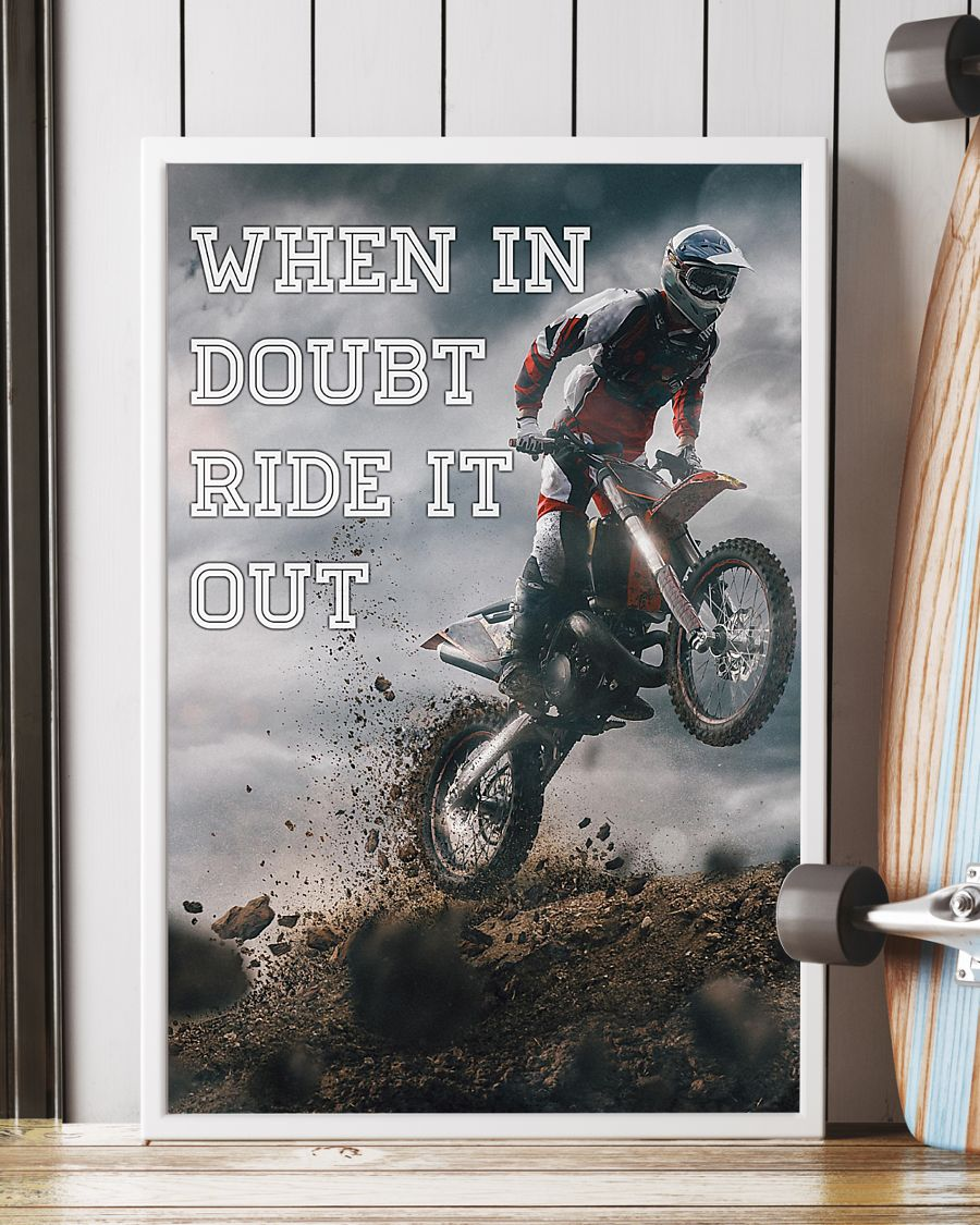 retro motorcycle when in doubt ride it out poster 2