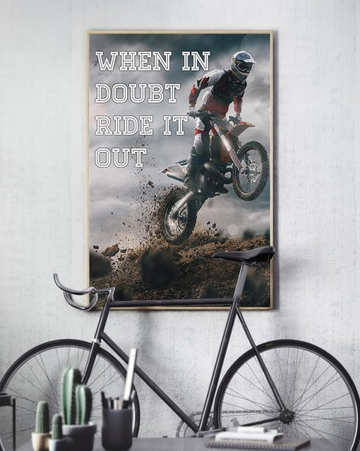 retro motorcycle when in doubt ride it out poster 3