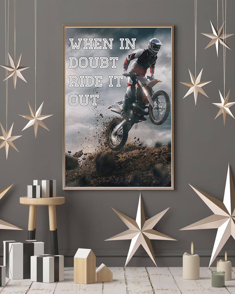 retro motorcycle when in doubt ride it out poster 4