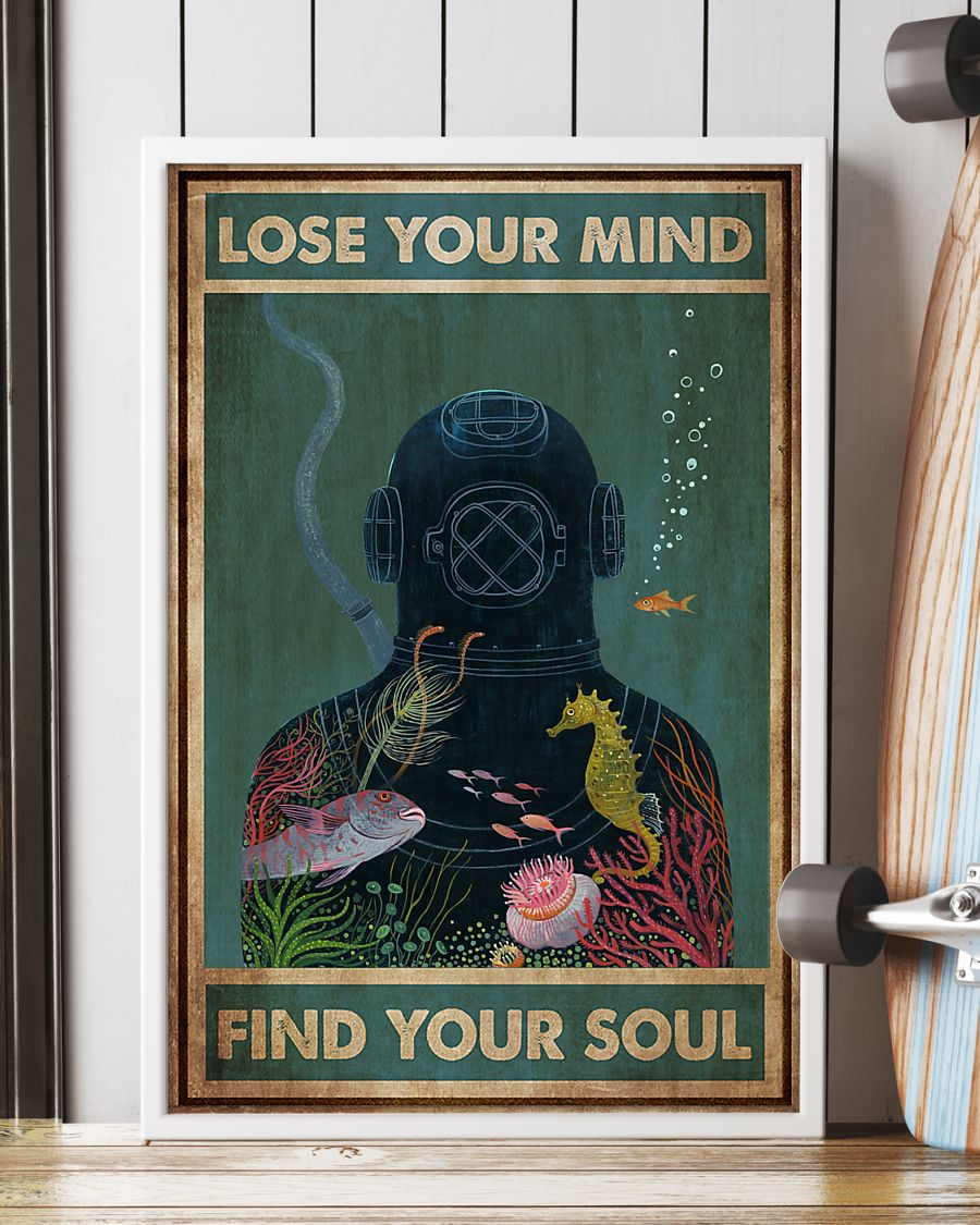 scuba diving lose your mind and find your soul vintage poster 2