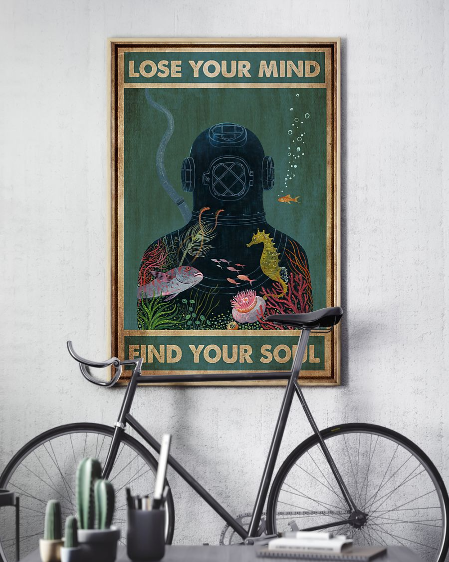 scuba diving lose your mind and find your soul vintage poster 3