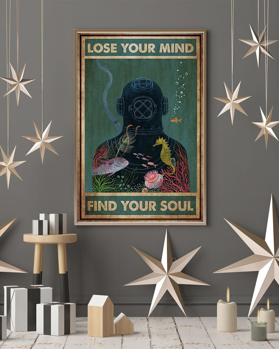 scuba diving lose your mind and find your soul vintage poster 4