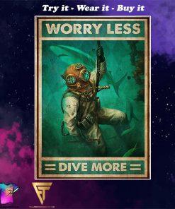 scuba diving worry less dive more vintage poster